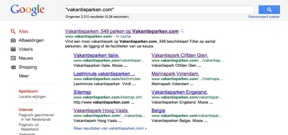 vakantieparken.com uitgebreide sitelinks google resultaten