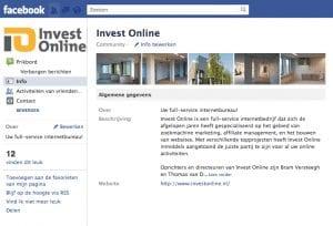 Facebook pagina Invest Online