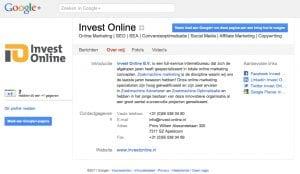 Google Plus pagina Invest Online