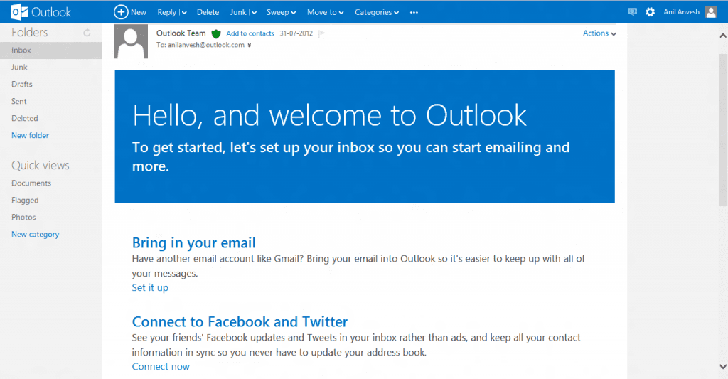 Nieuwe lay-out Outlook.com