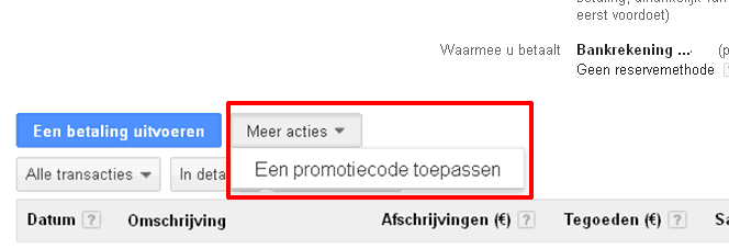 promotiecode adwords oude stijl