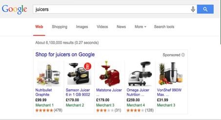 Google sterren voor shopping