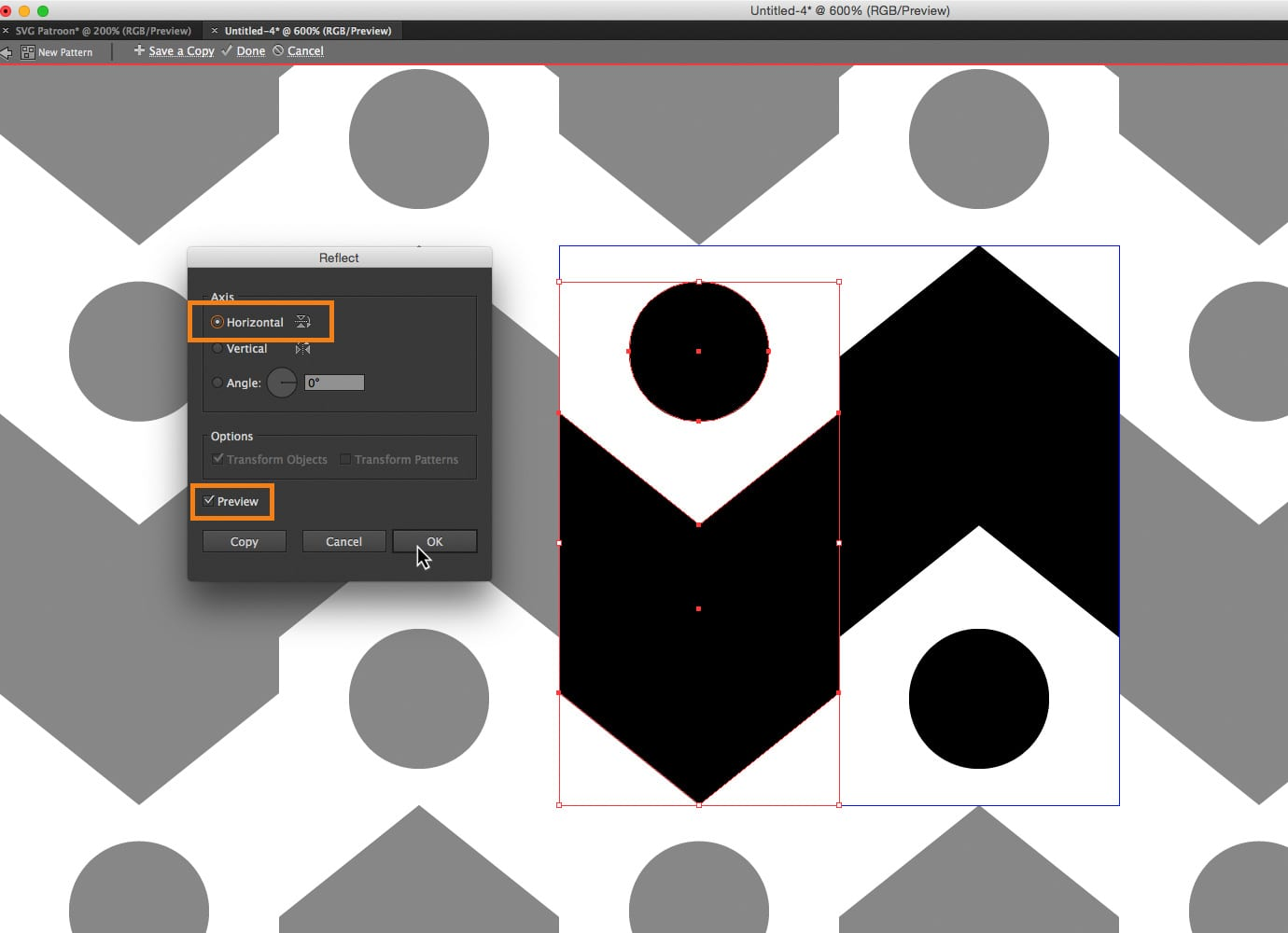 Reflecten in Illustrator CC 2015