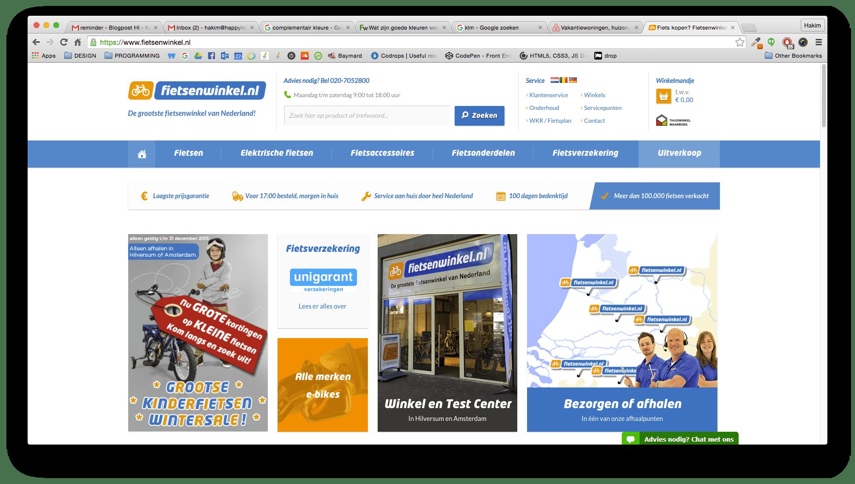 """8aee6d00e8c Daarnaast heeft Fietsenwinkel ervoor gekozen om de """"call to action"""" buttons  op haar website in de kleur oranje weer te geven. Waarom?"""