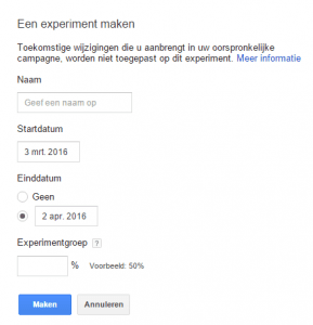 experiment aanmaken adwords