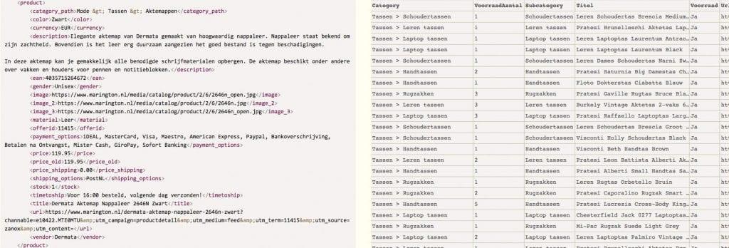 XML en CSV feed