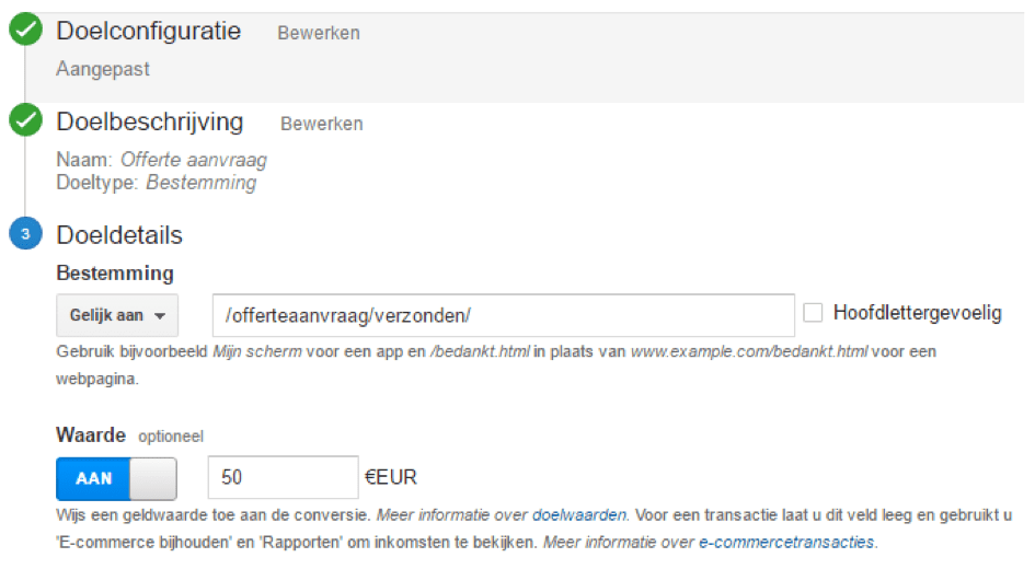 Google Analytics dashboard - doelconfiguratie