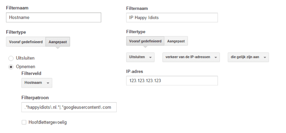 Google Analytics dashboard - filternaam