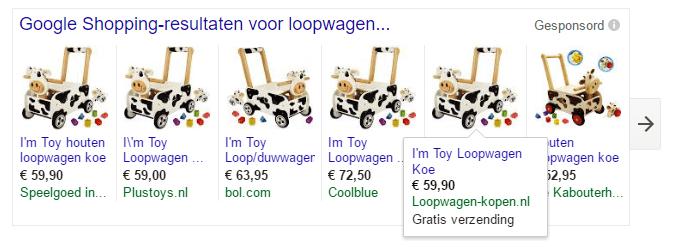 Google Shopping resultaten