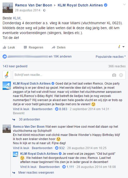 KLM social media