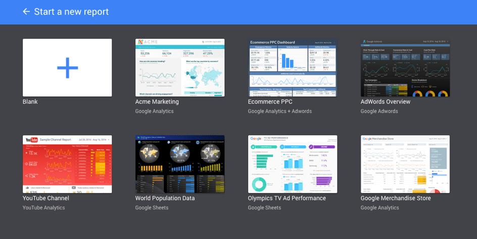 Op het moment zijn er 7 templates beschikbaar in de bibliotheek van Google Data Studio bèta.