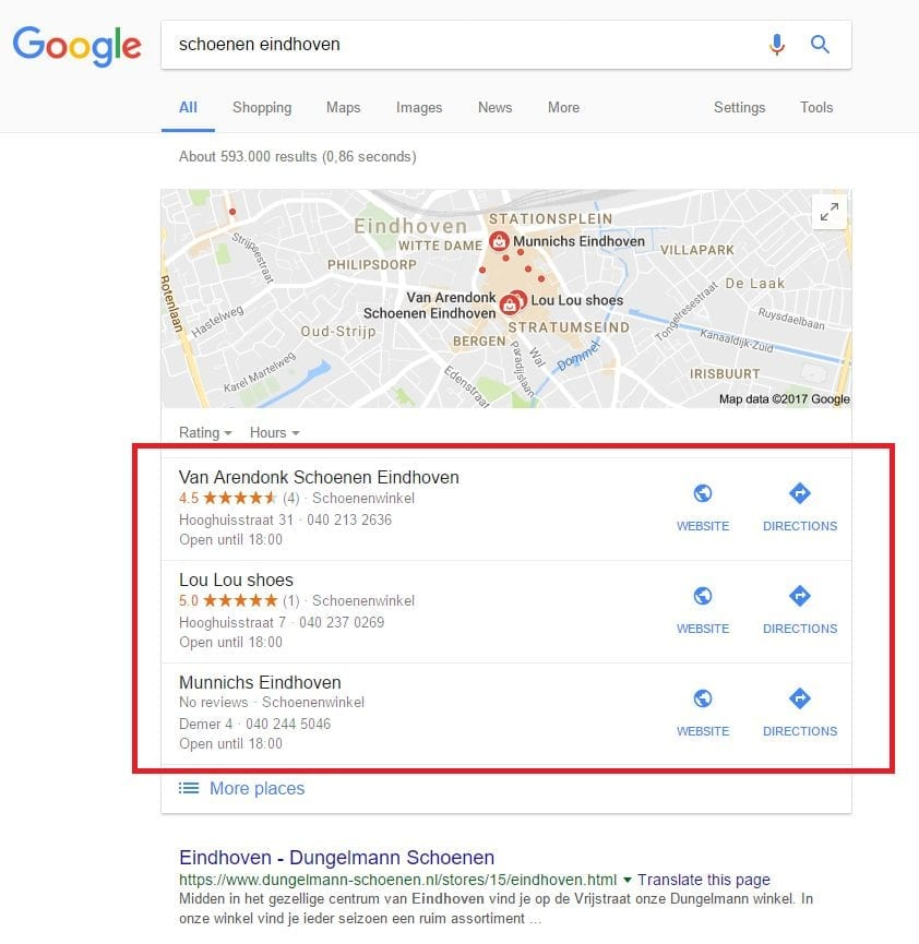 Google My Business - zoekresultaten