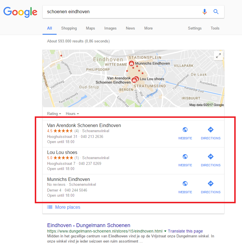 Google My Business - zoekresultaten
