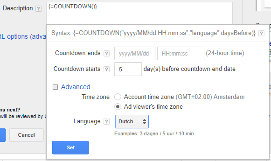 data opslaan countdown