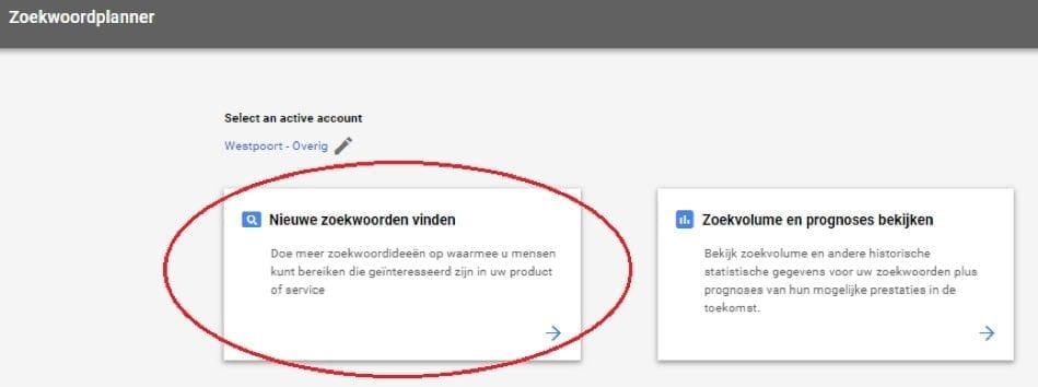 Google Ads zoekwoordplanner