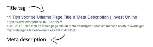 Voorbeeld van een title tag en meta description