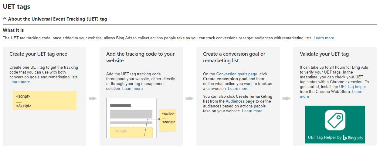 UET tags Bing